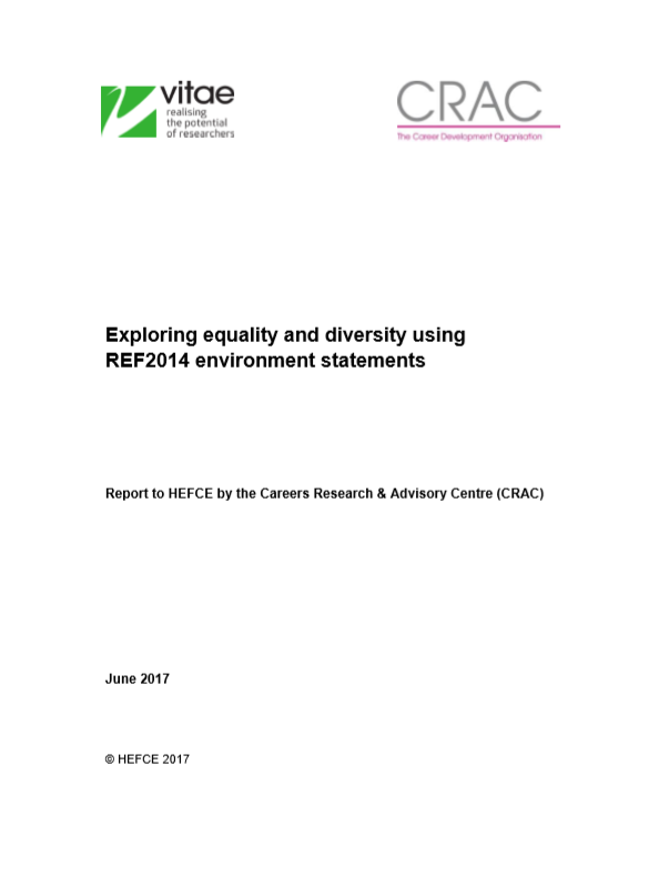 Exploring equality and diversity using REF2014 environment statements