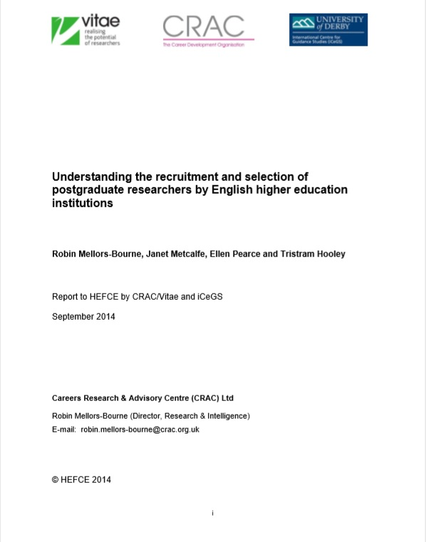 Understanding the recruitment and selection of postgraduate research students (HEFCE, 2014)